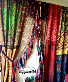 Indian Curtains, Bohemian Curtains, Silk Curtains, Hanging Curtains, Patchwork Curtains, Ribbon Yarn, Braids With Weave, How To Make Curtains, Sari Fabric