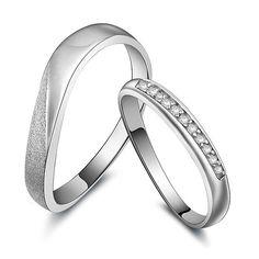 Mediterranean swiss diamond christmas couple rings gift - $39