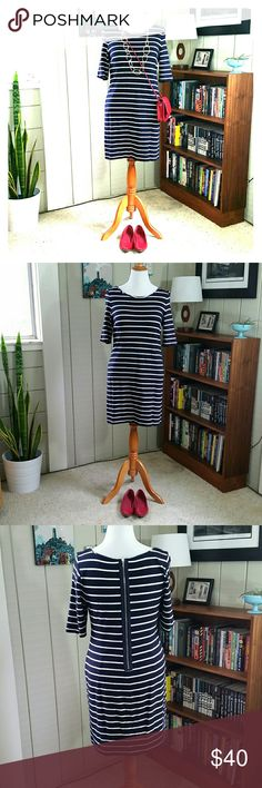 """BANANA REPUBLIC navy & white striped jersey dress Great work dress with chic zipper detail in the back. Quality heavy, soft jersey of 89% rayon, 9% nylon & 2% spandex. Dress is ~32"""" from neckline to hem. I'm 5' 3"""" and it hits above my knee. Very good used condition with no stains, rips, or loose stitching. Banana Republic Dresses"""