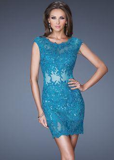 Dazzling Short Teal Lace Cocktail Dress.jpg (699×978)