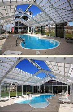 Retractable Roof Over Enclosed Pool Area. Interesting?