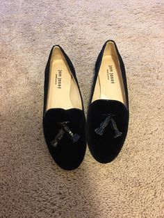 0d9f6549f9c Jon Josef Gentry Black Velvet Loafer Flats 6.5  fashion  clothing  shoes   accessories