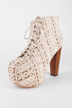 Jeffrey Campbell Lita Lacey Lace Up Platform Booties in Beige Ivory Lace