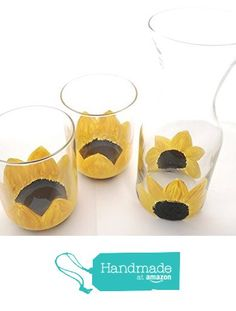 Hand Painted Sunflowers Carafe and Tumblers Set from My Retirement http://www.amazon.com/dp/B01GM2MNW2/ref=hnd_sw_r_pi_dp_bM1vxb04HN09W #handmadeatamazon