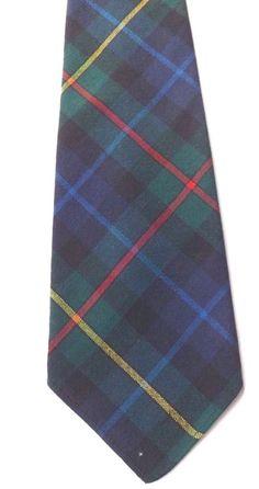 Retro 1970s LOCHCARRON PURE WOOL NECK TIE Smith Tartan Blue Green Weave FREE P&P