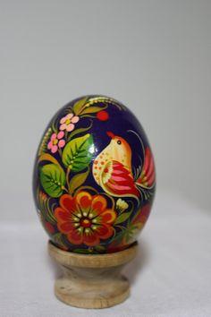 Petrykivka Arts - Petrykivka wooden eggs - Petrykivka Wooden Egg, Hand painted, Ukrainian Egg in Petrykivka Style - Myroslavas Creations - myroslavascreations@yahoo.com