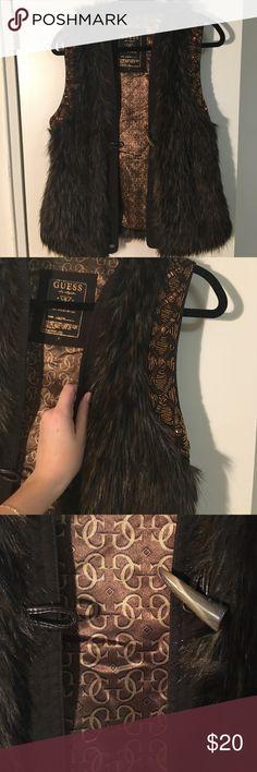 Fake fur vest Very soft fake brown fur vest, beautiful beading Guess Jackets & Coats Vests