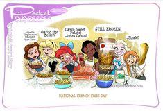 By Amy Mebberson Pocket Princesses National French Fries Day! By Amy Mebberson Funny Princess, Disney Princess Cartoons, Disney Jokes, Funny Disney Memes, Disney And Dreamworks, Disney Cartoons, Disney Pixar, Princess Movies, Walt Disney