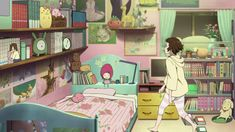 Hyouka anime gif (her room is one of my favorite anime rooms)