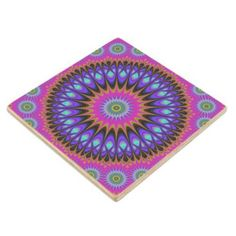 Star mandala wooden coaster $11.00 *** Abstract oriental star fractal design - coaster