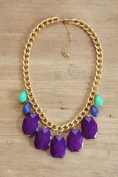 Jewel Tone Statement Necklace on Chunky Gold Chain, Mint, Blue and Purple Statement Necklace, Beaded Bib Necklace