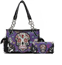 Purple Oaxacan Style Sugar Skull Concealed Carry Purse W Matching Wallet  #HBM #Hobo