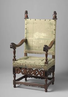 Armchair, Anonymous, c. 1615 - c. 1625, wood (plant material), 131.5 × 62 × 45cm/ Chairs of this type, with a rectangular upholstered seat and back, were found throughout Europe and virtually everywhere were called 'Spanish chairs', after the source of the original model. They were made in all kinds of wood and in various sizes, some soberly decorated, others more lavishly ornamented. / Rijksmuseum