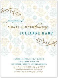 Elegant baby shower invite--really like the fonts
