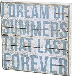 I Dream of Summers That Last Forever - Vintage Plank Board Beach Coastal Decor Box Sign - Jumbo 12-in x 12-in Beach Style Bedroom Decor, Beach Themed Decor, Beach Themes, Beach Ideas, Beach House Decor, Beach Condo, Beach House Signs, Surf Decor, Beach Wall Decor