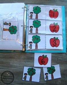 Interactive Math Binder Join our Email Group for Ideas, Freebies & Special Offers.Looking for a fun way to practice counting and early math skills? Preschool Binder, Preschool Activity Books, Preschool Readiness, Math Binder, Apple Activities, Preschool Activities, September Preschool, Fall Preschool, Colors For Toddlers