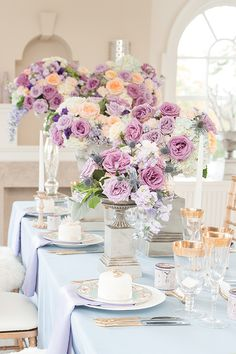 Lavender, blue and gold floral for a French manor wedding. See more at http://www.rebeccachan.ca