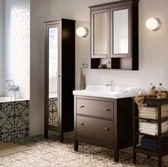 HEMNES Bathroom | Ikea In white with the dressin g table between the cabinet and the vanity