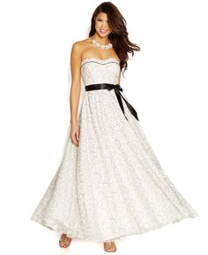 Speechless Juniors' Lace Ribbon-Belt Gown - Juniors Shop All Prom Dresses - Macy's