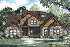 A stone and wood exterior give this four bedroom Craftsman style home an elegant look. The impressive two story foyer provides a grand entrance.  Craftsman House Plan #152005.