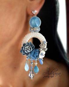 pinterest.com Beaded Jewelry Designs, Handmade Beaded Jewelry, Earrings Handmade, Denim Earrings, Soutache Earrings, Shibori, Bijoux Diy, Unique Earrings, Designer Earrings