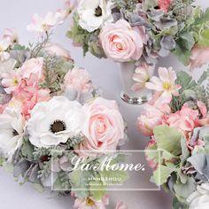 LAMOME纳茉花艺/欧式法式浪漫仿真花 粉色绣球玫瑰白色银莲花套装 样板间-淘宝网