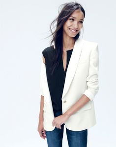 J.Crew women's Collection shawl-collar tuxedo blazer and drapey keyhole top. To preorder call 800 261 7422 or email verypersonalstylist@jcrew.com.
