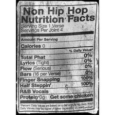 Un-Nutrional #RapFacts:  #Music consumed from #rappers adds #NutritionalValue... #SaidNoOne. #STEELYourMind #InkWellSpoken #HipHop #Reformation #NutritionalFacts #nutritional #nutrition #wrappers #JunkFood