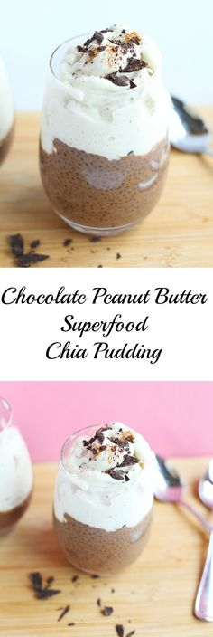 This Chocolate Peanut Butter Superfood Chia Pudding is creamy and rich. Refined sugar free and loaded with healthy vitamins and minerals! Vegan and Gluten Free. / TwoRaspberries.com