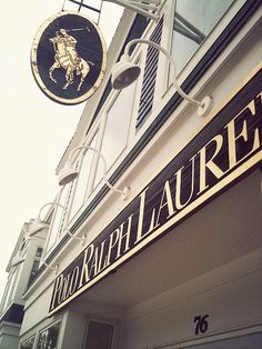 Gold lettering is used for the logo not only on tags, but also on the signage for their stores.  The gold symbolizes the American Luxury that is Ralph Lauren.