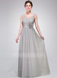 A-Line/Princess V-neck Floor-Length Chiffon Bridesmaid Dress With Ruffle Flower(s) (007037178)