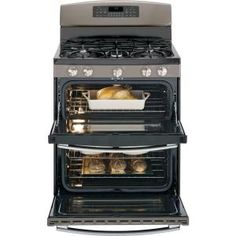 GE 6.8 cu. ft. Double Oven Gas Range with Self-Cleaning Oven in Slate-JGB850EEFES $1498 at NFM (was $1660)