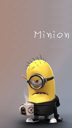 Tired minion coffee lover minion iphone 6 plus wallpaper HD - Despicable Me #iphone #wallpaper