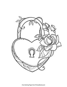 Free printable Valentine's Day Coloring Pages eBook for use in your classroom or home from PrimaryGames. Print and color this Heart Shaped Lock coloring page. Skull Coloring Pages, Heart Coloring Pages, Pattern Coloring Pages, Printable Adult Coloring Pages, Coloring Pages To Print, Mandala Coloring, Free Coloring, Coloring Books, Tattoo Coloring Book