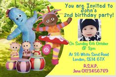 Personalised Iggle Piggle Night Garden Birthday Party Invitations Blue
