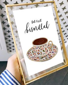 Hand drawn Turkish cup illustration with hand lettering. But first.Bismillah The perfect reminder for your home or as a house warming gift. ***Customisable Print*** It can be printed in any size and colour required. Just send us an email. Decoraciones Ramadan, Islamic Wall Decor, Prayer Room, Personalised Prints, Islamic Gifts, Islamic Art Calligraphy, E Design, Hand Lettering, How To Draw Hands