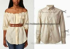 After - befor refashion biby creations Couture Diy Clothing, Sewing Clothes, Men's Shirts And Tops, Diy Kleidung, Diy Vetement, Refashioning, Shirt Refashion, Diy Fashion, Fashion Tips