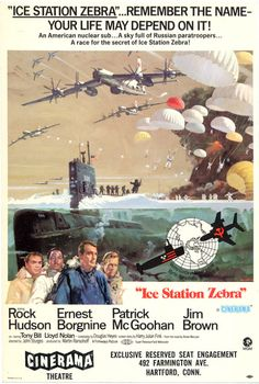 Wall-Color 9 x 12 Metal Sign - 1968 Ice Station Zebra Rock Hudson - Vintage Look Old Movie Posters, Classic Movie Posters, Cinema Posters, Movie Poster Art, Ice Station Zebra, World Movies, War Film, Adventure Movies, Film Music Books