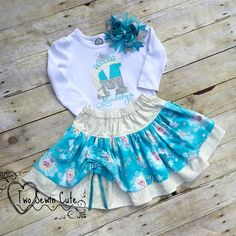 Frozen Shirt and Skirt Set, Girls Personalized Initial Set, Elsa Birthday Shirt, Elsa Birthday Shirt and Skirt Set, Frozen Birthday Set by TwoSewinCute on Etsy