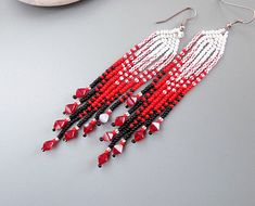 Beaded Earrings Long earrings Evening earrings Fringe earrings Women gift Red earrings Sexy earrings Beadwork earrings Festival earrings Dangle beaded earrings with fringe. It is easy, elegant jewelry suitable for everyday use and special occasions. Is handmade especially for you.