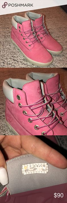 Size 4 Pink Low Top Timberland Boots Beautiful Light Pink Timberland Low Top Boots in Size 4. I am normally a size 7 in normal shoes and these fit comfortably. Worn once, new without tags. Timberland Shoes Ankle Boots & Booties