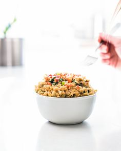 This fried rice is made with quinoa instead of rice (yes, quinoa fried rice) and packed with baby greens. Dollop with hot sauce & get your healthy on!
