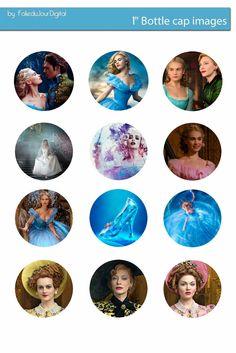 Free Bottle Cap Images: Disney Cinderella 2015 Free bottle cap images with Lily James