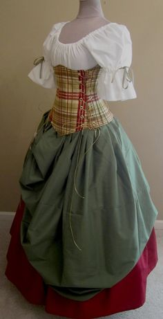 Old Fashioned Clothes : Bonnie Lass Ensemble - renaissance clothing, medieval, costume Renaissance Costume, Medieval Costume, Renaissance Clothing, Medieval Dress, Renaissance Skirt, Historical Costume, Historical Clothing, Vintage Clothing, Vintage Outfits
