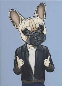 Frenchie painting by Jeroen Teunen, the Dog Painter. French Bulldog as The Fonz. The Fonz, Teen Humor, Dog Paintings, Funny Tees, Doge, Pet Portraits, Tigger, French Bulldog, Teen Funny
