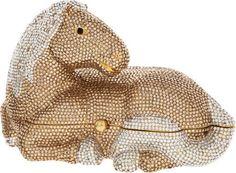 Judith Leiber Full Bead Gold & Silver Crystal Horse Minaudiere Evening Bag