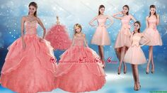 2015 Perfect Sweetheart Beading Quinceanera Dress and Cute Bownot Prom Dresses and Halter Top Watermelon Litter Girl Dress - $568.14 #abiti quinceanera caldi -  lovely  #hot quinceanera dresses