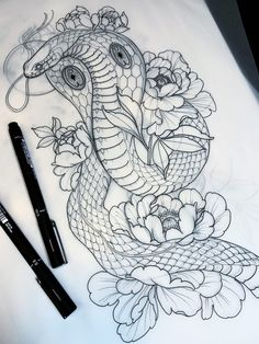 T-shirts with prints on the theme of tattoos, barbering, men's style, hipsters Tattoo Design Drawings, Tattoo Sketches, Tattoo Designs, Snake Drawing, Snake Art, Leg Tattoos, Body Art Tattoos, Sleeve Tattoos, Tattoo Ink