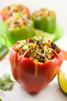 Mexican stuffed peppers 1 cup cooked chicken, shredded 15-oz. can corn kernels, drained 14.5-oz. can diced tomatoes (use a flavored variety if you're feeling saucy) 15-oz. can black beans, drained 1 bunch green onions, sliced (white and light green parts only) 1/4 cup fresh cilantro, chopped Juice from 1 lime Salt and pepper, to taste