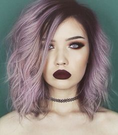 Pinterest: ρσяcєℓαιиIV Purple Violet Red Cherry Pink Bright Hair Colour Color Coloured Colored Fire Style curls haircut lilac lavender short long mermaid blue green teal orange hippy boho ombré Pulp Riot Makeup Chocker